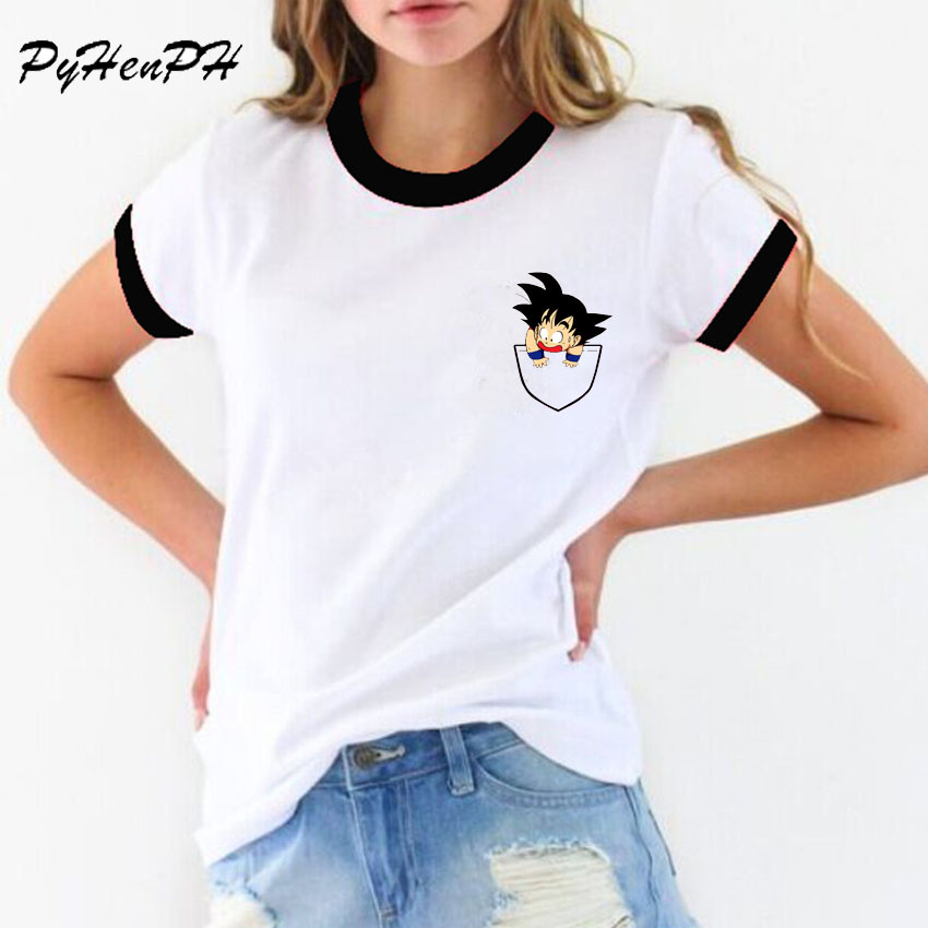 PyHenPH Anime   T     Shirt   women Dragon Ball Design   T  -  shirt   Fashion Casual Funny Cartoon pocket Goku Printed Tee   Shirts   Blusa