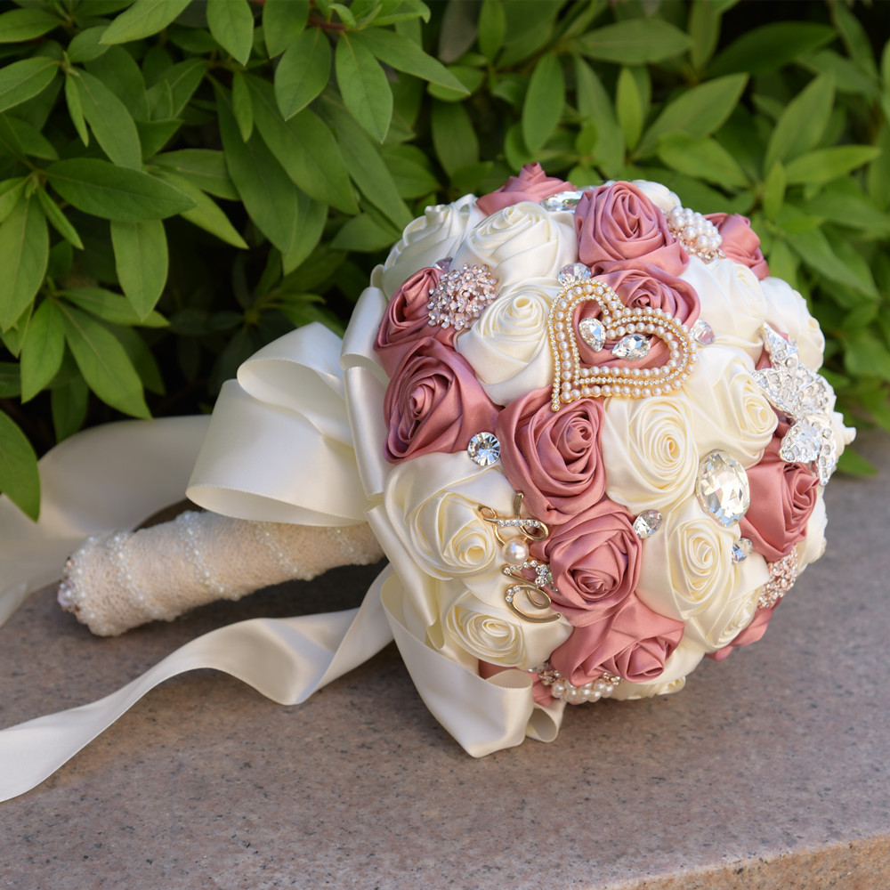Eternal angel 2018 new hand made ribbon flower bridal bouquet eternal angel 2018 new hand made ribbon flower bridal bouquet wedding hold artifical flowers with big crystals and brooches in artificial dried flowers izmirmasajfo