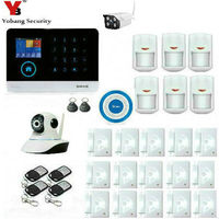 YobangSecurity Wireless 3G Alarm System Wifi Home Security House Alarm With Indoor Outdoor IP Camera Wireless Siren APP Control