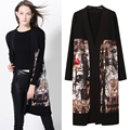New Hot Autumn Women's Knitted Silk Cotton Printing Ink Painting Patchwork Cardigans Long Style Female's Knitwear Jersey SY649