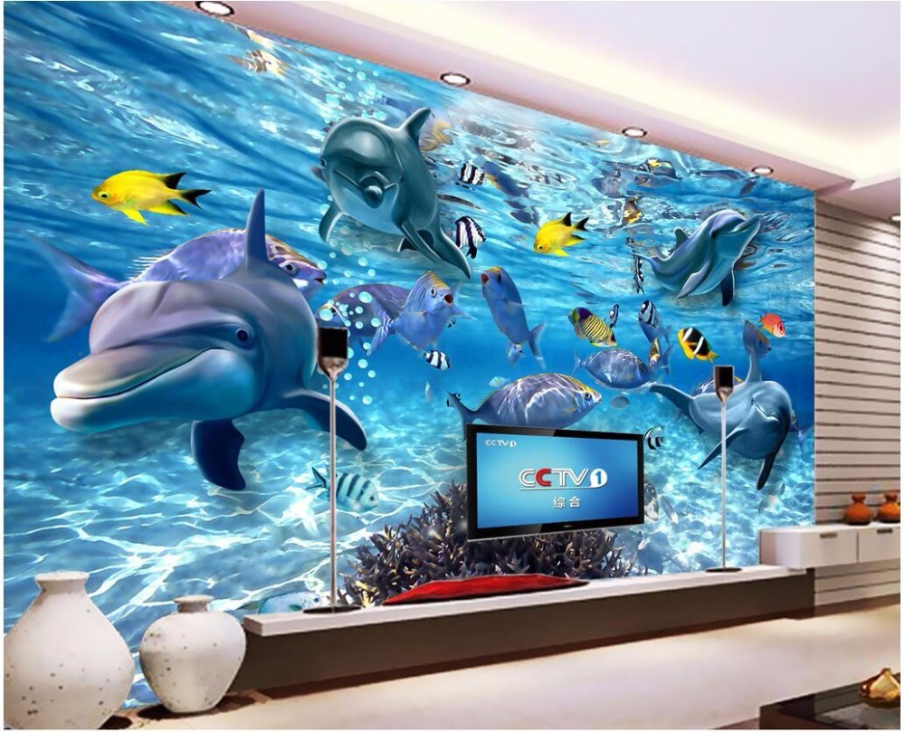 Beibehang Wallpaper Art Background Photography Dolphin Sea Coral
