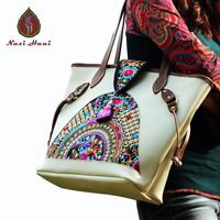 Newest Original Ethnic Handmade Cowhide Embroidered Handbags Vintage Fashion Women White First Layer Of Leather Shoulder