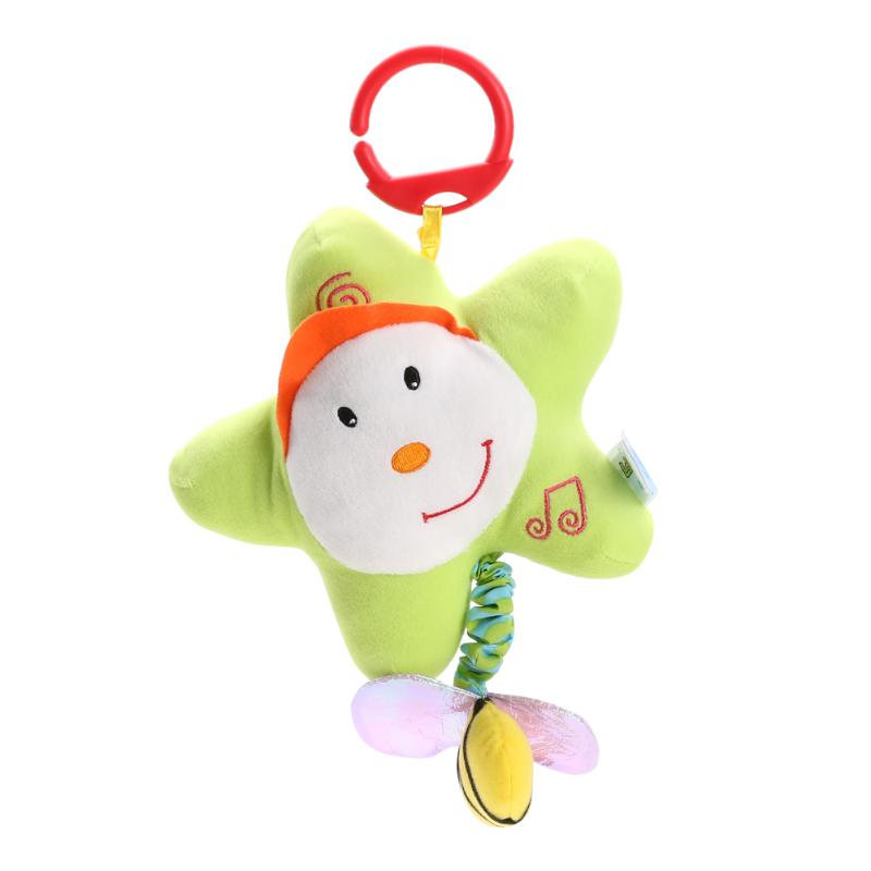 Baby Cartoon Rattles Toy Soft Plush Teether With Sounds Infant Stroller Bed Hanging Rattle Doll Toys