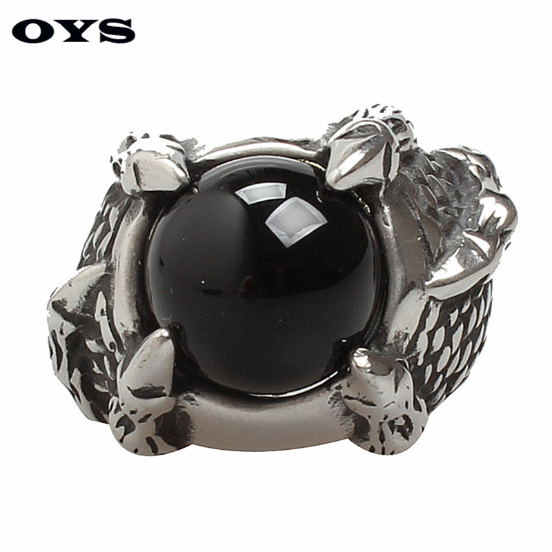 Punk Talon Black Onyx Ring For Men Thick Band In Antique Titanium Stainless Steel Vintage Gothic Style Acessories