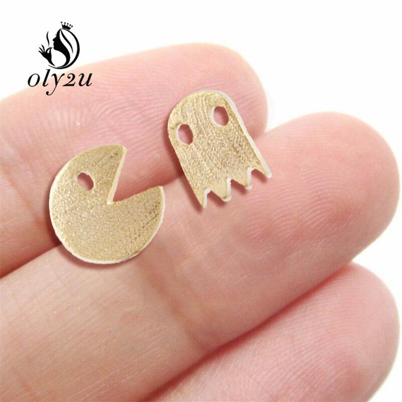 Oly2u 10pcs New Arrival gold-color Cute Pac Man Teen Stud Post Earrings Girls Fun Elegant Wholesale Ear Studs ED014