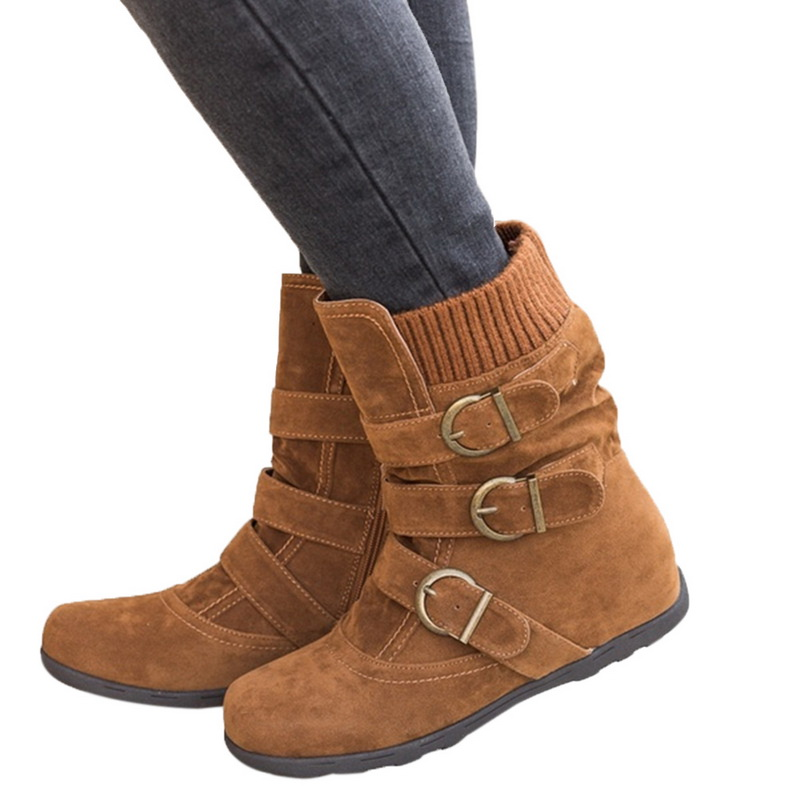 Vertvie Winter Women Boots Flat Short Section Thick Cotton Boots Women Fashion Shoes Keep Warm Women's Belt Buckle Boot fashion keep warm winter women boots snow boots 2017 buckle cotton boots women boots shoes
