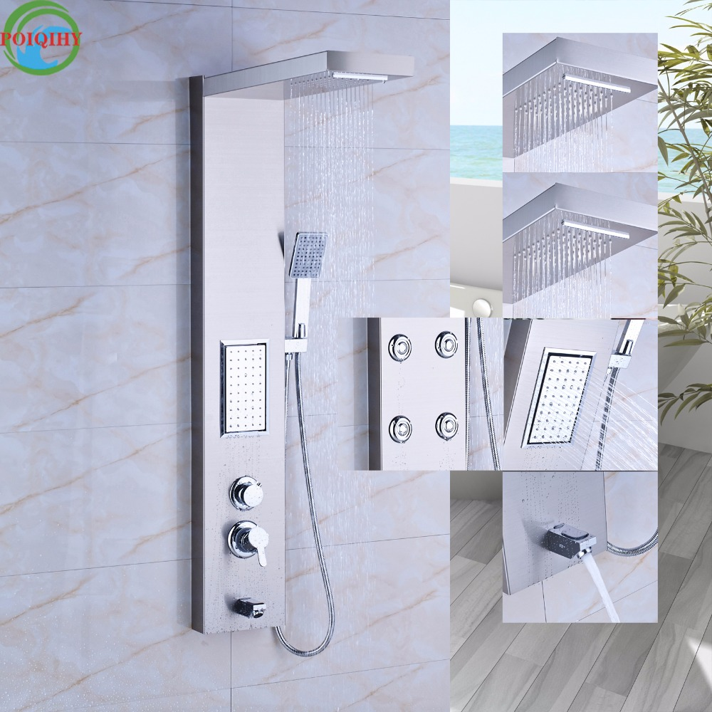 rainfull shower panel two styles of massage jets column brass hand shower tub spout shower tower - Shower Tower