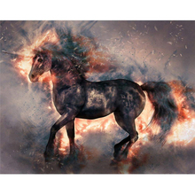 Burning unicorn diamond Embroidery diy painting mosaic diamant 3d cross stitch pictures H623