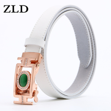 ZLD fashion Women Genuine Leather Belts Waistband gold and Silver Automatic Buckle Belt For Durable Straps High Quality