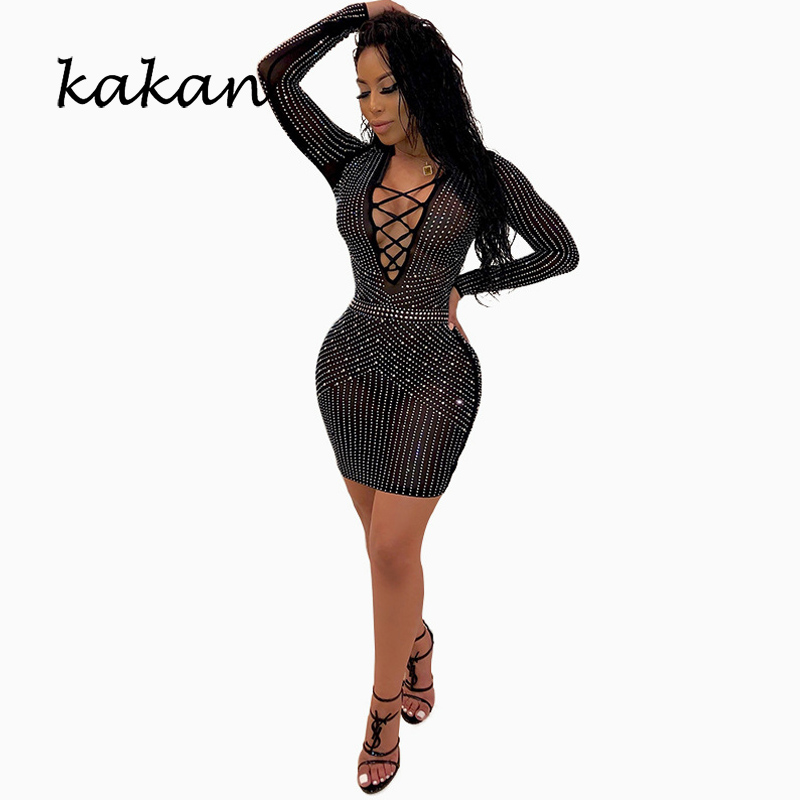 Kakan summer new womens hot drilling dress sexy mesh straps nightclub black club party