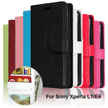 LUCKBUY Wallet Case For Sony Xperia L1 E6 Flip Cover PU Leather Stand Holder Cases G3311 G3312 Soft
