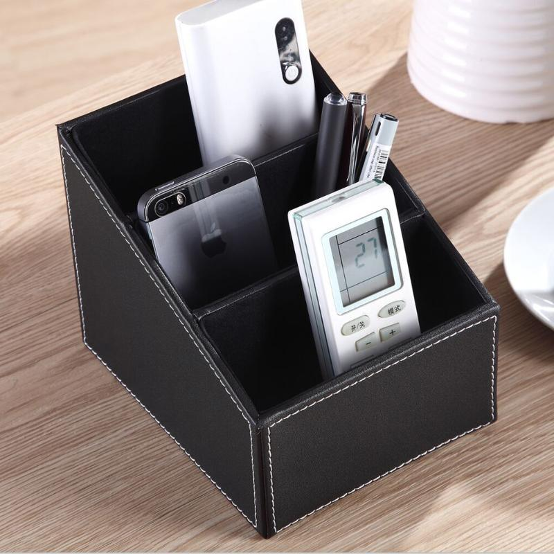 3 Cells Layers PU Leather Remote Control Storage Box Office Desk Pencil Holder Women Makeup Cosmetic Tools Organizer
