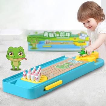 1 Set Kids Desktop Bowling Game Finger Catapult Funny Tabletop Sports Frog Bowling Ball Educational Toy for Children Gift