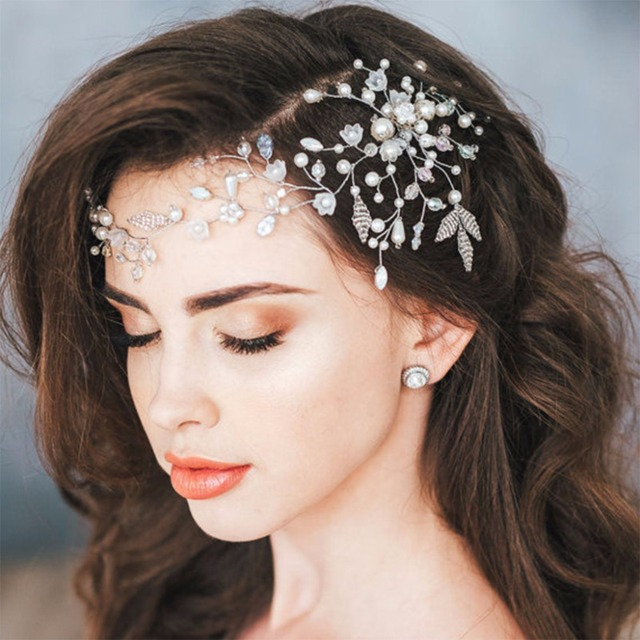 JAVRICK Bride Hair Band Crystal Headband Wedding Headpiece Flower