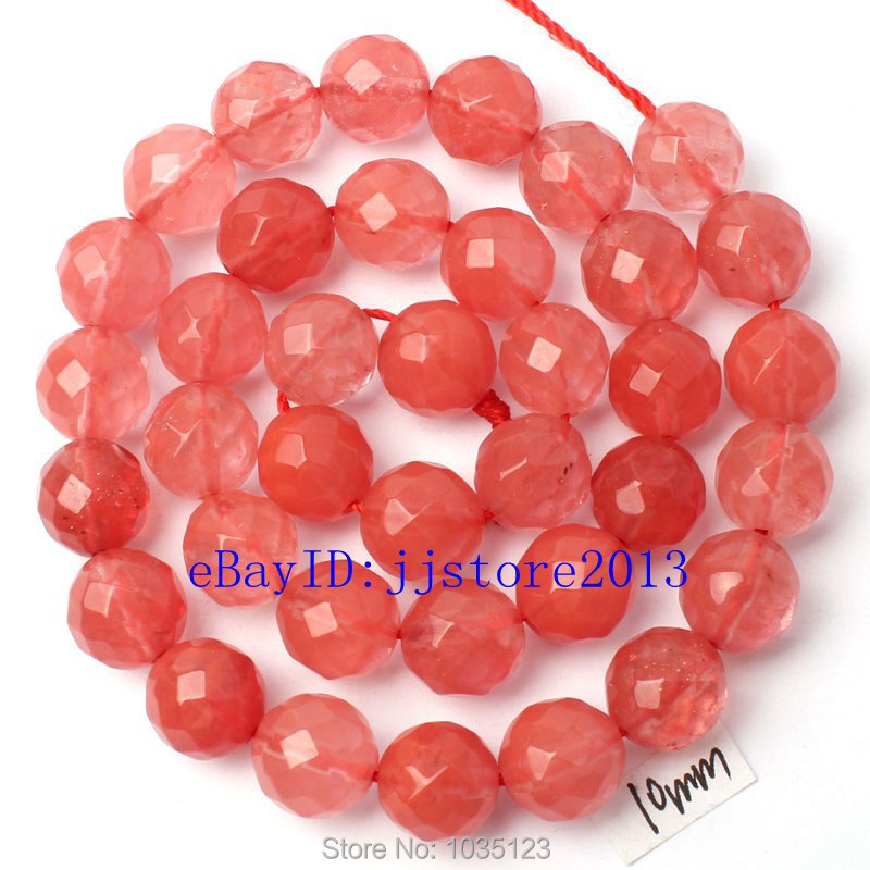 Free Shipping 10mm Red Color Watermelon Crystal Faceted Round Shape Loose Beads Strand 15 DIY Creative Jewellery Making w3073