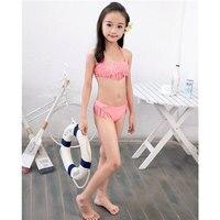 Mädchen bikini split badeanzug kreative heißen bohrer nylon spandex kinder bademode mädchen bikini set badeanzug sex kostüm 7-16 jahre