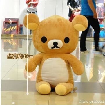 90cm Kawaii big brown japanese style rilakkuma plush toy teddy bear stuffed animal doll birthday gift free shipping stuffed animal 90 cm plush dolphin toy doll pink or blue colour great gift free shipping w166