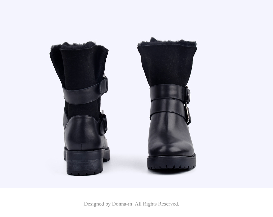 DONNA-IN 2017 winter new styles real fur mid-calf boots thick outsole metal buckle women boots warm wool low heel snow boots 838-702 (16)