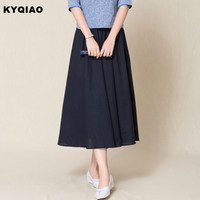 KYQIAO Traditional Chinese Clothing Cosplay Costumes 2017 Women Autumn Elegant Long Dark Blue Solid Skirt Longuette