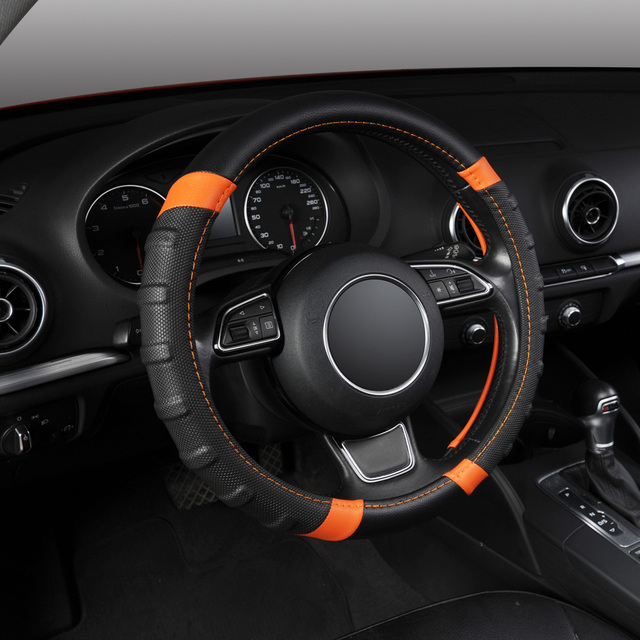 Microfiber Leather Steering Wheel Cover Universal 38cm