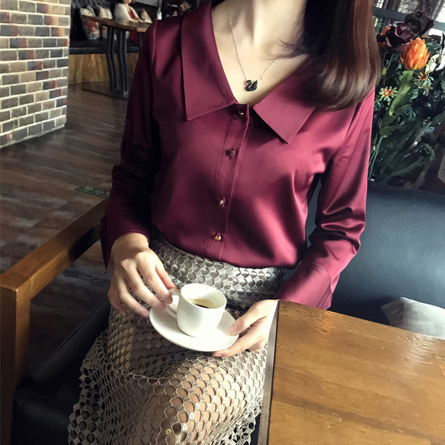 Deva Fashion Wine Silk Blouse Autumn OL Turn down collar Flare Sleeve Three Quarter Top Ladies' Shirt
