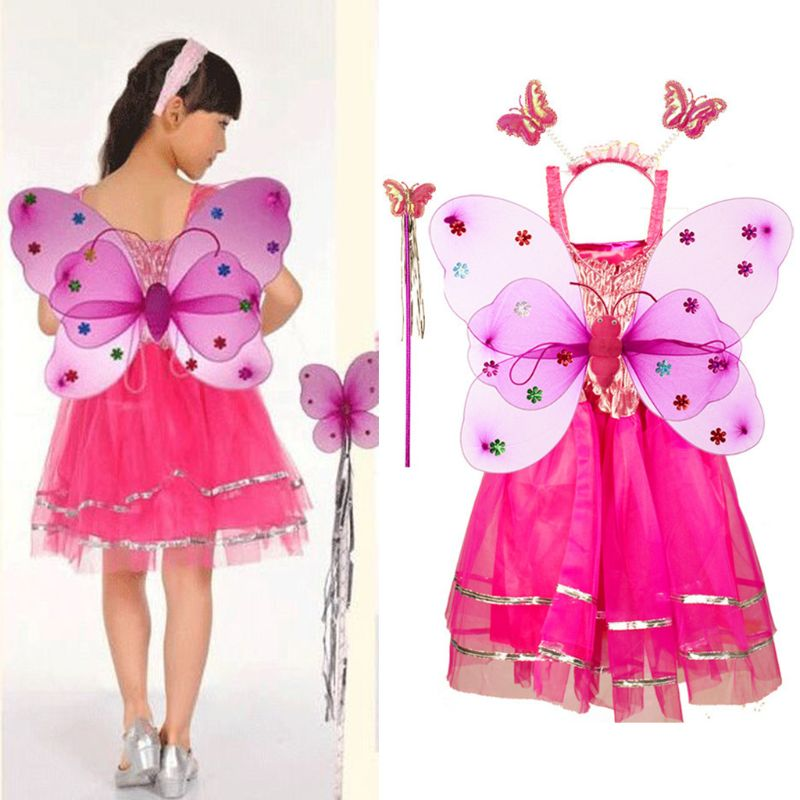 4Pcs Fairy Costume Set <font><b>Princess</b></font> <font><b>Girls</b></font> Sleeveless Long Tutu <font><b>Dress</b></font> LED Double Layer Butterfly Wings Wand Headband Party Ages 3-10 image