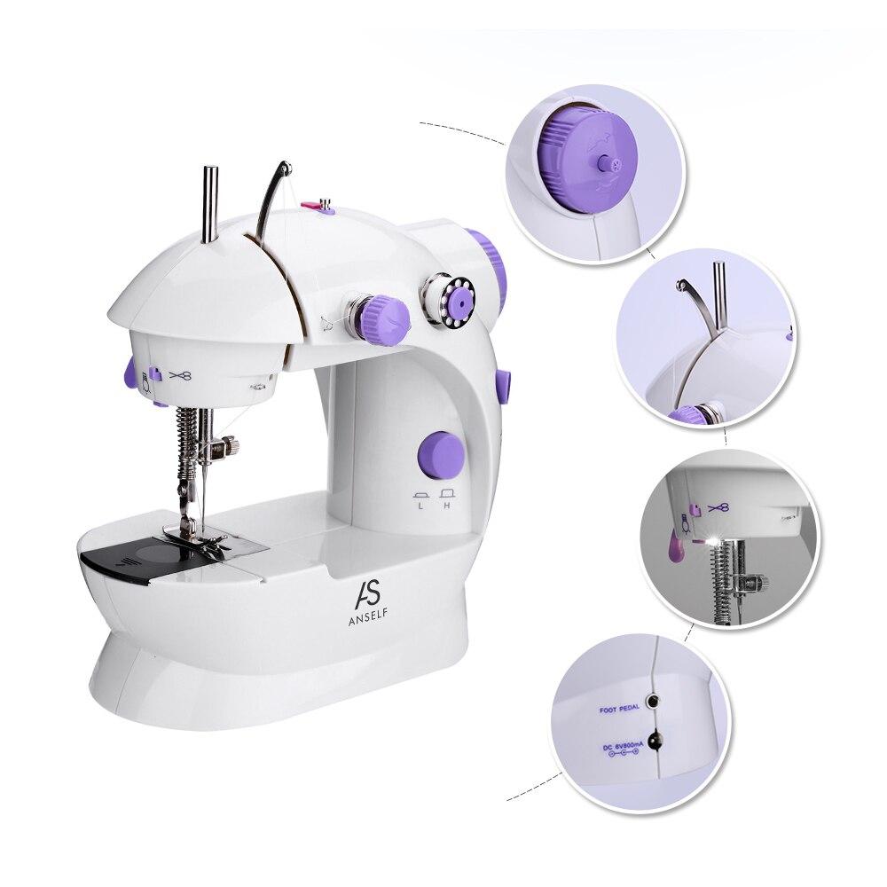 Mini Ménage Machine À Coudre Électrique UE Plug Double Réglage de La Vitesse Avec Pied Pédale Automatique Bande De Roulement Rembobinage Machine À Coudre