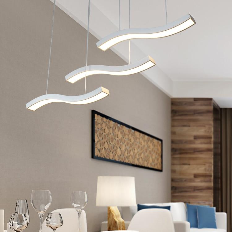 Curved LED Dining Modern Minimalist Pendant Lamp Dining Room Lamp Pendant  Light LED Personality Bar Coffee Dining Room FG95 In Pendant Lights From  Lights ...