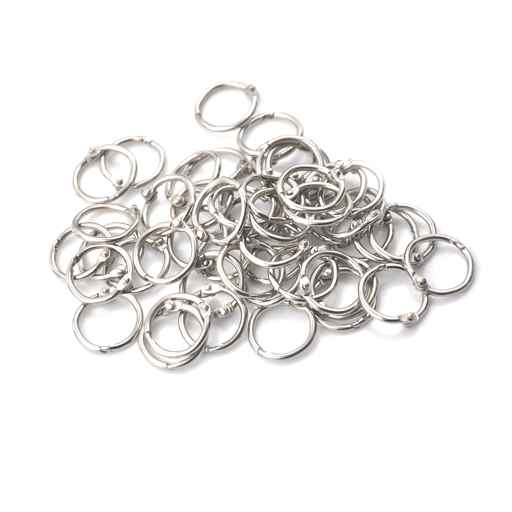 50Pcs/lot Staple Book Binder 20mm Outer Diameter Loose Leaf Ring Keychain Circlip Ring