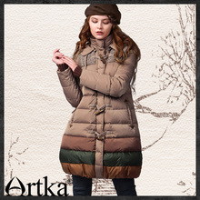 Artka Women's Autumn Winter Vintage Hooded Collar Long Sleeve Contrast Color Midi Pattern Thick Down Jacket  YK12348D