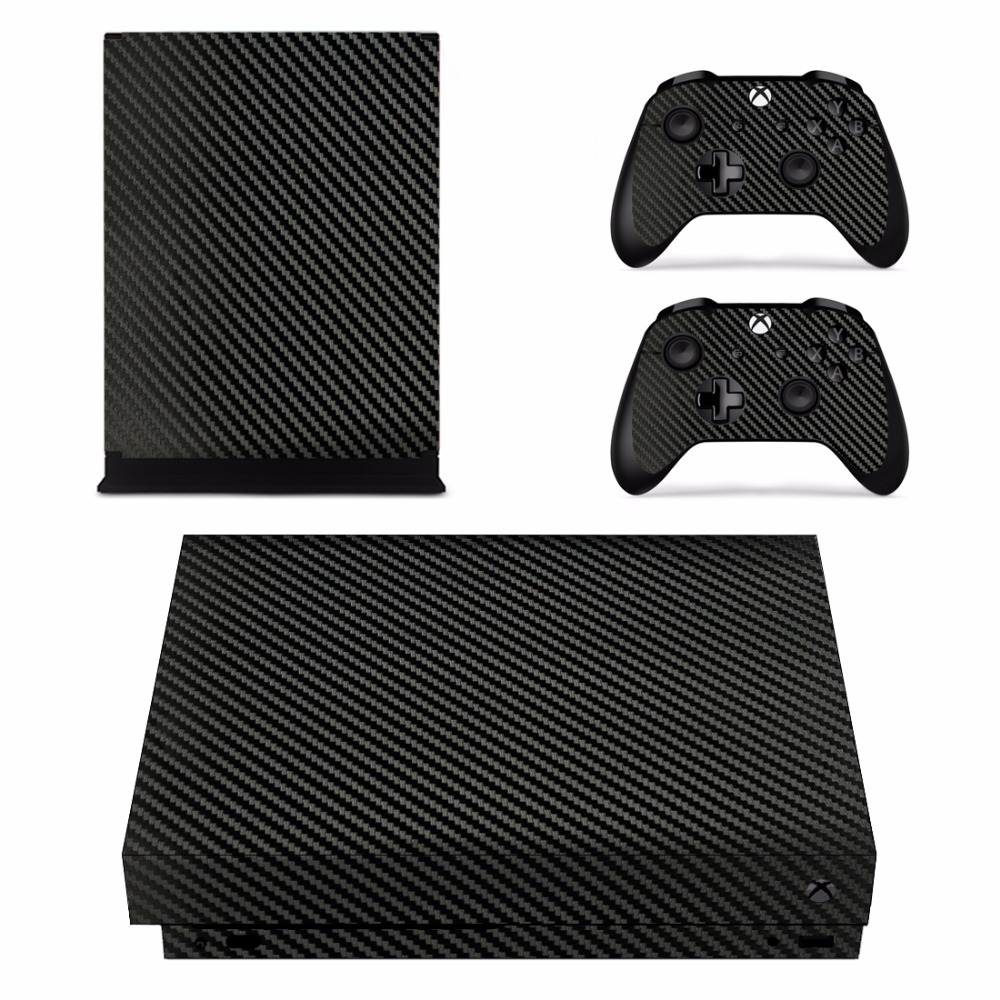 Removable Carbon Fiber pattern Vinyl Skin Sticker Film For XBOX ONE X Console Protector + XBOX ONE X Controller Cover Decals
