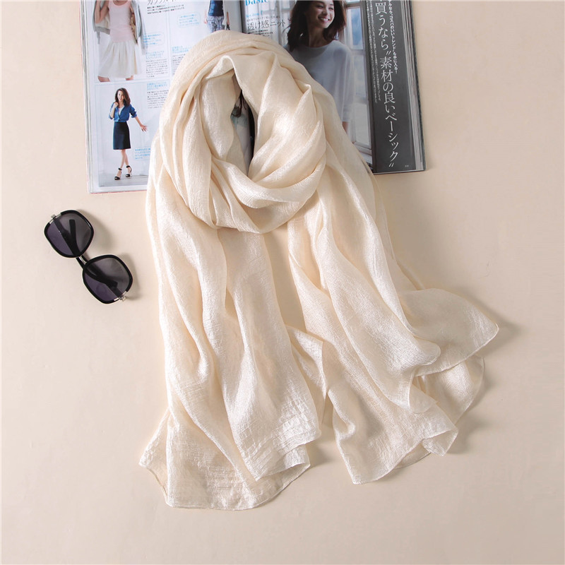 2018 Luxury Brand Women Fashion Scarf Plain Solid Silk Linen Shawls Scarves Summer Lady Bandanas Pashmina Foulard Hijab 180*90Cm