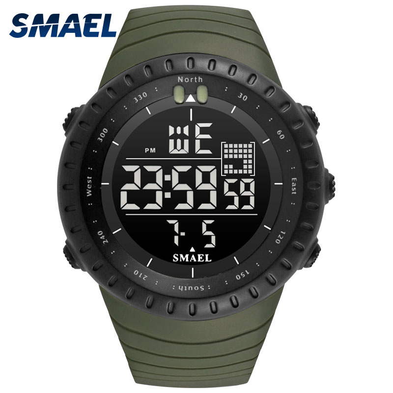 Analog Men Watches Big Dial Digital Watch Man Water Resisitant 5bar Led Watches Digital Date 1237 Sport Wrist Watches Stopwatch