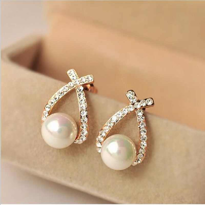 Wholesale Fashion Gold Crystal Stud Earrings Brincos Perle Pendientes Bou Pearl Earrings For Woman