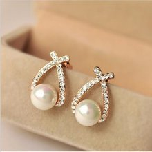 Wholesale Fashion Gold Crystal Stud Earrings Brincos Perle Pendientes Bou Pearl Earrings For Woman(China)