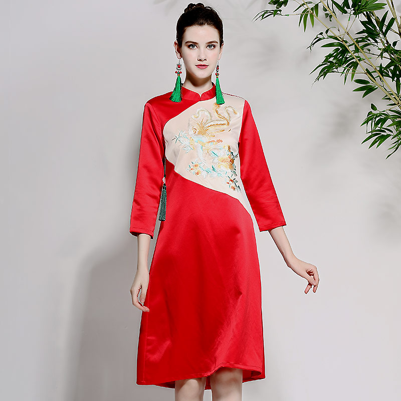 Élégant Robe Qualité Rouge Cheongsam Chinois Bleu Haute 2018 Broderie Style Automne Col Femmes Mandarin Trois Trimestre Manches marine Rq5xt1Y