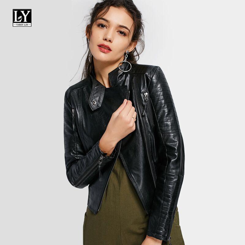 Ly Varey Lin   Leather   Jacket Women Slim Pu Motorcycle Faux Soft   Leather   Zipper Lady Short Jacket Balck Punk Outwear
