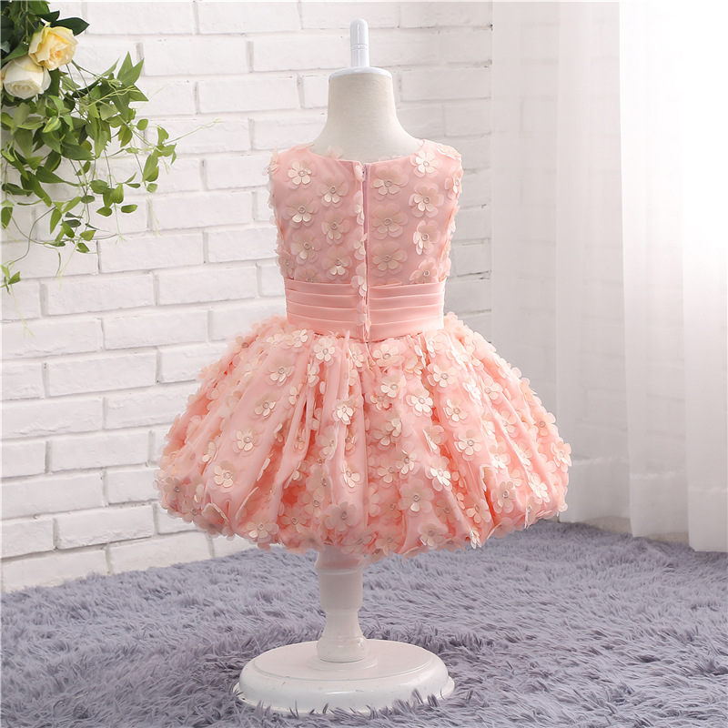 New Arrival Pink 3D   flower     flower     girl     dresses   2 to 10 yard Tea length Vestido de daminha Short   flower     girl     dress   Plus size