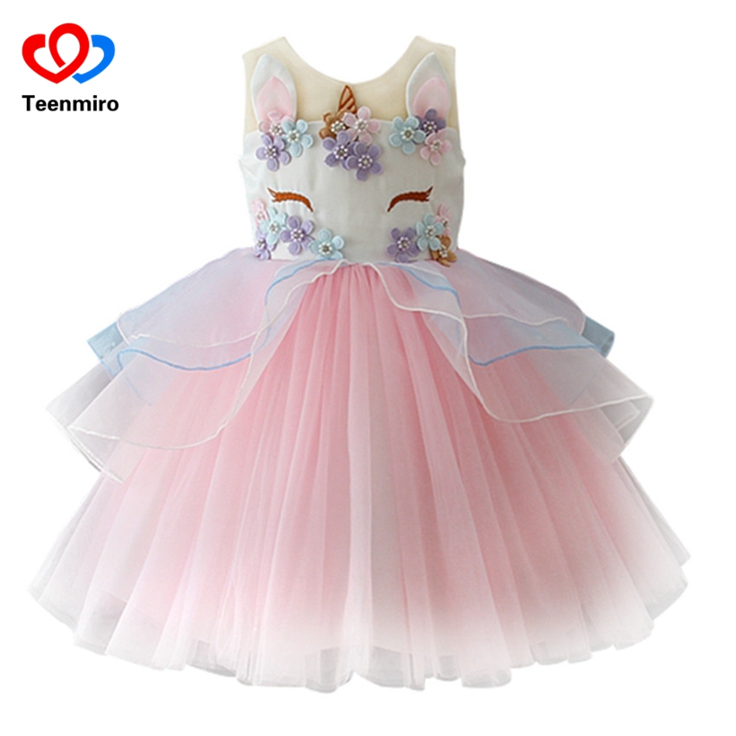 Fancy Kids Unicorn Dress for Girls Embroidery Flower Ball Gown Baby Girl Princess Dresses for Party Costumes vestido unicornio baby girl dress ball gown lace patchwork sequined girls dresses for weddings party costumes kids clothing spring 2017 sale