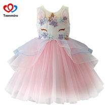 Нарядное детское Тюлевое платье с единорогом для девочек, бальное платье с вышивкой, детские платья принцессы с цветочным рисунком для девочек, костюмы для свадебной вечеринки, Unicornio