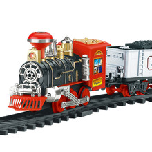 Model Train Toy Railroad Railway Remote Control RC Track Train Car Electric Steam Smoke RC Christmas Train Set Model Toy Gift(China)