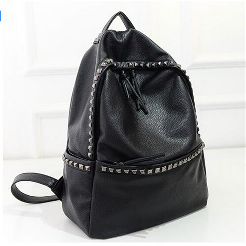 LACUS JERRY2017 New Fashion Women Backpacks Rivet Bags Black Soft Washed Leather Shoulder Schoolbags For Girls Female Travel Bag 2016 fashion women backpacks rivet soft sheepskin leather bags shoulder for teenage girls female travel bag free gift