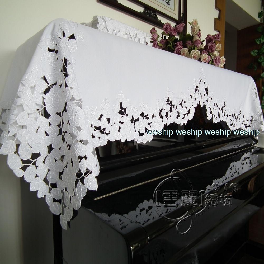 ホワイトローズシリーズ農村布アート中国刺繍ピアノカバーピアノスツールカバー  グループ上の ホーム&ガーデン からの ピアノカバー の中 1