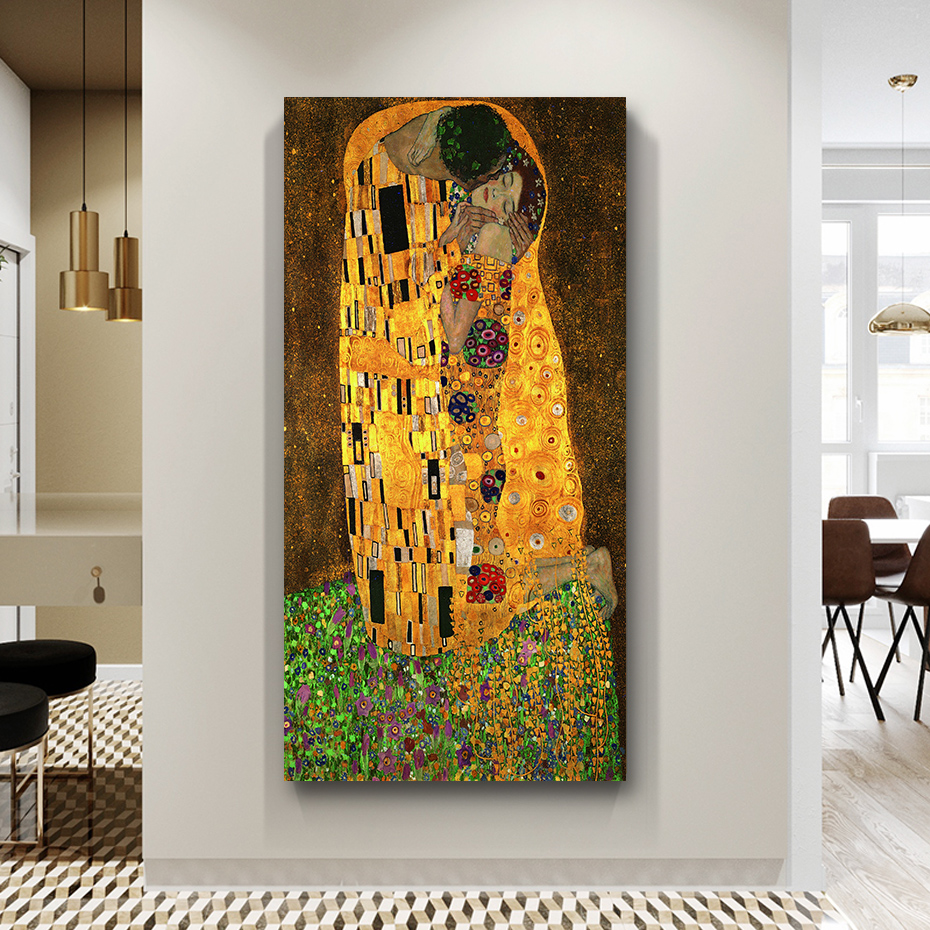 2019 Classic Gustav Klimt Classic Kiss Canvas Painting Diy Solid Wood Frame Stretched Poster Print Wall Art Pictures Entrance Decor From Aozhouqie