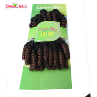 Eunice Hair 18inch Kanekalon Curly Hair Weft Ombre Burgundy Brown Grey Pre Curled Bouncy Curl Crochet
