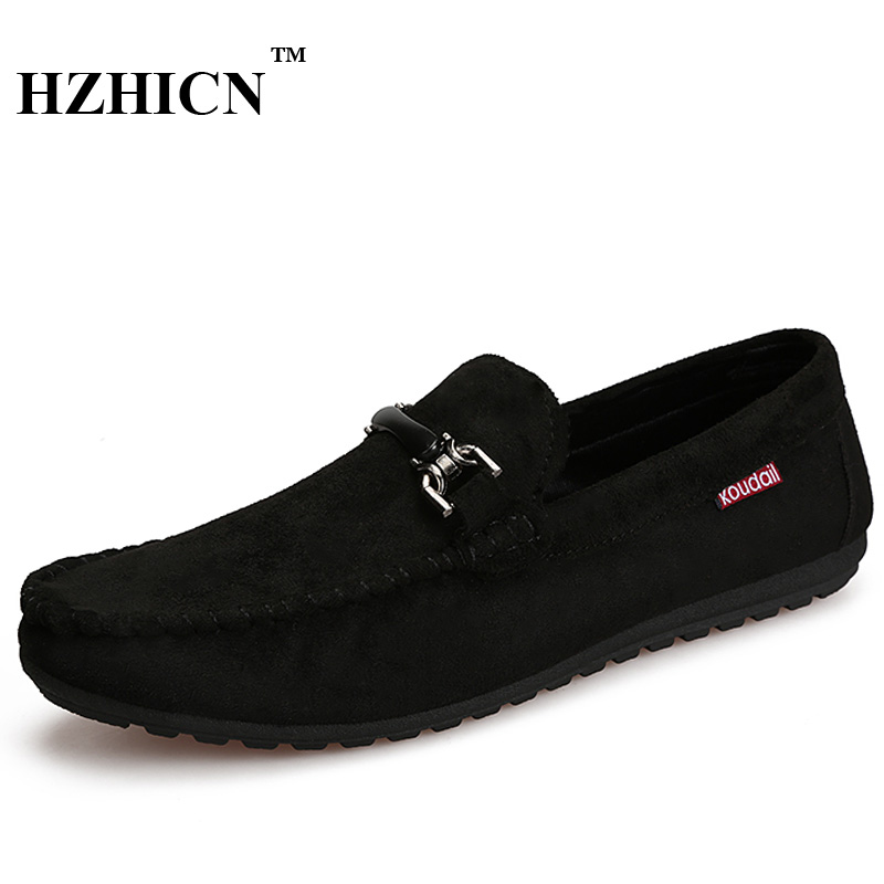 HZHICN Brand Men Loafers High Quality Fur Leather Shoes Fashion Summer Style Soft Moccasins Men Flats Gommino Driving Shoes