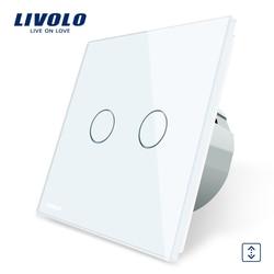 Livolo Luxe W/B/G 4 Kleur Kristal Glazen Paneel, EU Standaard Touch Control Gordijnen Schakelaar, AC 220 ~ 250 V, C702W-1/2/3/5