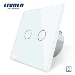 Livolo Luxury  W/B/G 4 Color Crystal Glass Panel , EU Standard Touch Control Curtains Switch, AC 220~250V, C702W-1/2/3/5