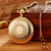 Vintage Copper Hand Wind Mechanical Pocket Watch With Chain Vacuum IPG Plated Luxury Pendant Fob Clock Men Women Steampunk Gift