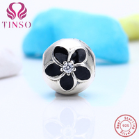 European Black Cherry Blossoms Stopper Flower Clip Beads Fit Pandora Charms Bracelet Clips Locks 925 Sterling